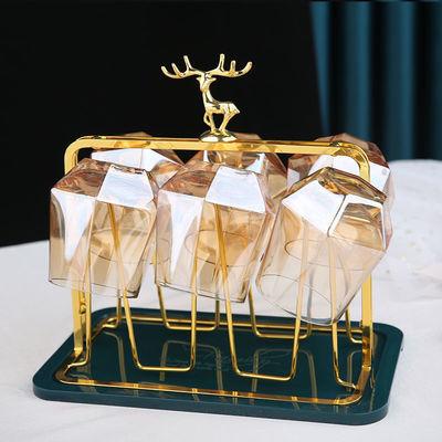 74206/轻奢创意玻璃水杯架子倒挂欧式杯架沥水家用客厅杯子收纳置物架