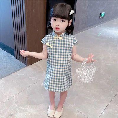 童装连衣裙2021夏季新款女童旗袍中小童复古风汉服小女孩公主裙