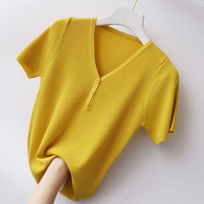 冰丝针织短袖t恤上衣女2021新款韩版v领修身纯色时尚打底百搭显瘦