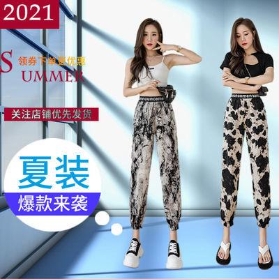 新款冰丝九分裤子女2021夏季薄款潮流宽松显瘦女士哈伦束脚休闲裤