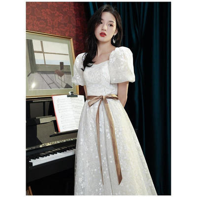 70248/晚礼服裙女长款宴会气质优雅主持人年会学生艺考连衣裙平时可穿夏