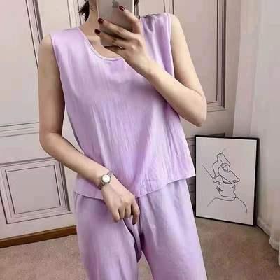 2021新款夏季女简单纯色睡衣无袖背心简约薄款透气家居服
