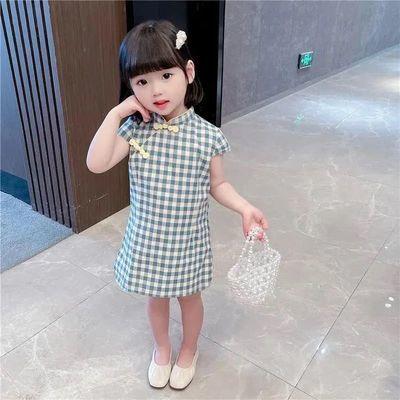 连衣裙童装2021夏季新款女童旗袍中小童复古风汉服小女孩公主裙