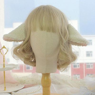90001/原创手作 小羊耳朵 边夹 羊咩咩Lolita发饰 呲甜头饰甜美羊耳发夹