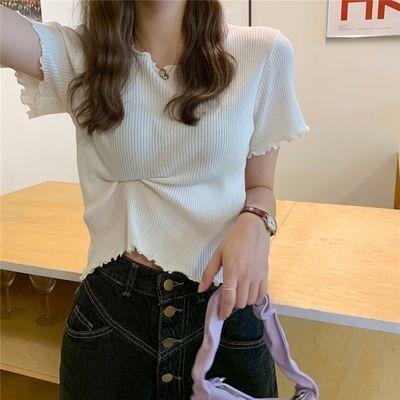 白色针织短袖T恤女夏季2021新款修身显瘦网红洋气木耳边短款