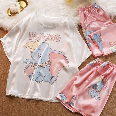72302/睡衣女2021年新款短裤夏季冰雪丝短袖长裤仿真丝绸家居服三件套装
