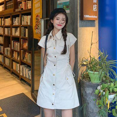 77751/POLO领连衣裙工装风女法式设计感夏季2021新款又A又飒短袖裙子潮