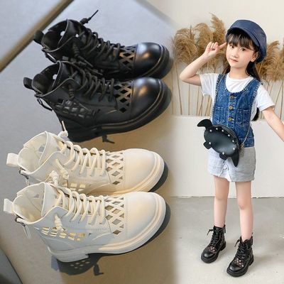 76264/女童镂空马丁靴女学生平跟凉鞋2021新款透气软底小皮鞋搭裙子鞋子