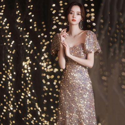 60375/宴会晚礼服2021新款礼服裙长款优雅气质主持人年会礼服女平时可穿
