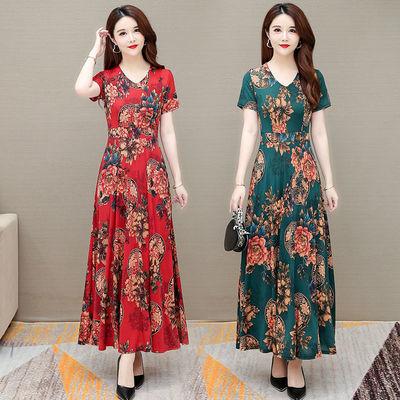 76462/冰丝连衣裙女2021新款夏装高腰遮肉显瘦中老年妈妈装高级感长裙子