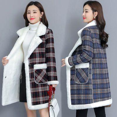 54270/大码女装秋冬季韩版加绒加厚胖mm200斤中长款仿羊羔绒外套大衣潮