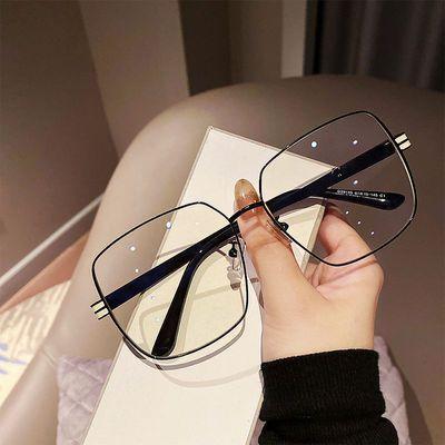 72392/2021加大框新款素颜无度数平光镜男潮港风显脸小眼镜框女近视眼镜