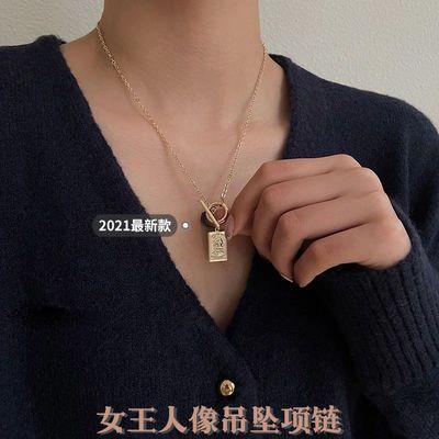 71066/轻奢ins女王人像项链女款2021新款小众设计高级感复古气质配饰
