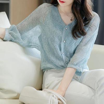 76456/2021新款女设计感衬衫两件套气质女神范轻熟风法式高品质别致上衣