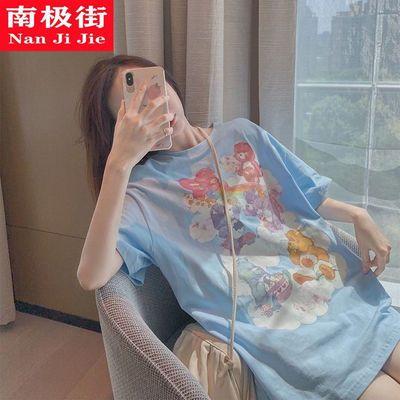 蓝色小熊短袖t恤女宽松上衣网红超火中长款夏季2021新款韩版ins潮
