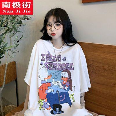原宿风短袖t恤女夏季2021新款宽松卡通印花少女感中长款上衣ins潮