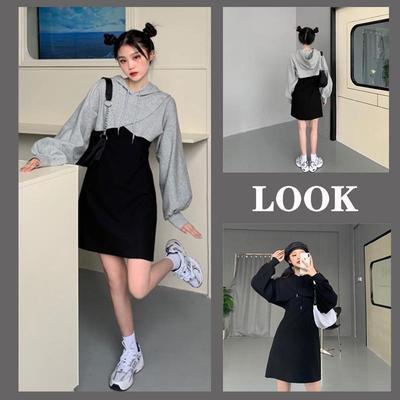 64103/胖mm300斤大码新款女装宽松显瘦两件套装220炸街卫衣罩衫连衣裙潮