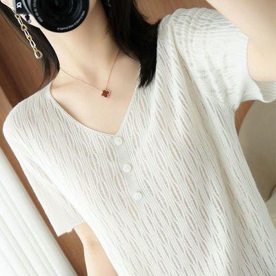 原装正品新款夏季T桖女桑蚕丝V领短袖大码百搭冰丝针织衫薄款上衣