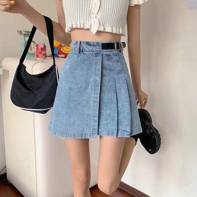 59653/夏季新款港味复古百搭高腰显瘦A字包臂裙学生设计感牛仔半身裙潮