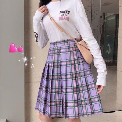 EGGKA格子百褶短裙女春夏高腰显瘦学院风A字半身裙设计感2021新款