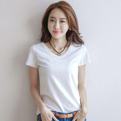 韩版短袖T恤女夏季新款修身体恤女生色圆领上衣韩国百搭打底衫