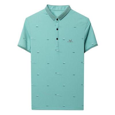 男士高端冰丝polo衫商务休闲男宽松刺绣短袖夏季薄款翻领t恤半袖