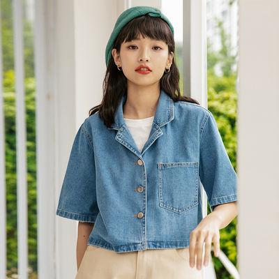 76006/设计感小个子短袖牛仔衬衫外套女夏季港风复古西装领短款衬衣上衣