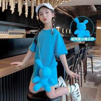 女童夏裝連衣裙2021新款洋氣童裝兒童短袖裙子夏季女孩長款T恤裙
