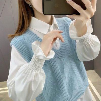 75650/2021年新款毛衣女装衬衫马甲背心两件套装针织衫春秋宽松洋气百搭