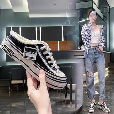 64065/2021年夏季新款小众包头半拖鞋女外穿帆布鞋小白鞋半托乞丐鞋
