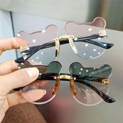 防紫外线男女童儿童眼镜太阳镜时尚可爱宝宝小熊耳朵墨镜造型拍照
