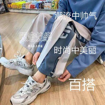 72285/港风休闲裤男ins潮流新款宽松束脚裤2021夏季韩版直筒百搭运动裤
