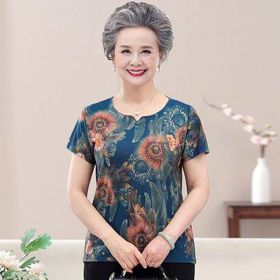 2021新款高档仿香云纱老年妈妈夏装t恤上衣女宽松透气女装奶奶装