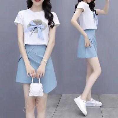 74987/2021夏季新款女两件套裙减龄T恤+短裙半身裙小香风时尚套装女套装【9月23日发完】