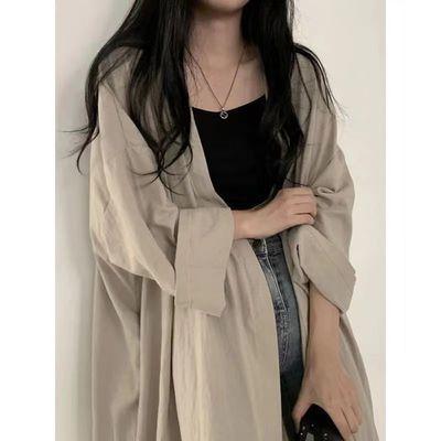 防晒衣女2021新款潮夏季韩版宽松大码薄款衬衫长款外套慵懒风上衣