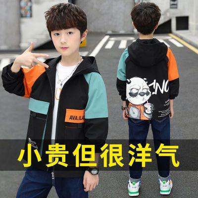 男童外套春秋款2021新款中大童拼色夹克洋气加棉加厚儿童风衣帅气