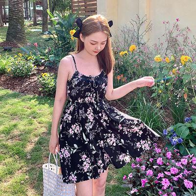 73595/花卉吊带连衣裙2021夏季新款系带蝴蝶结连衣裙印花连衣裙