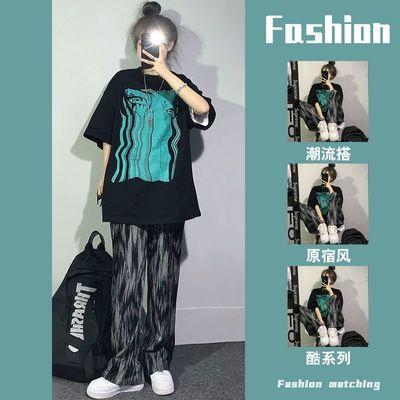 57002/盐系套装女夏季新款学生韩版宽松短袖T恤+扎染休闲阔腿裤子两件套