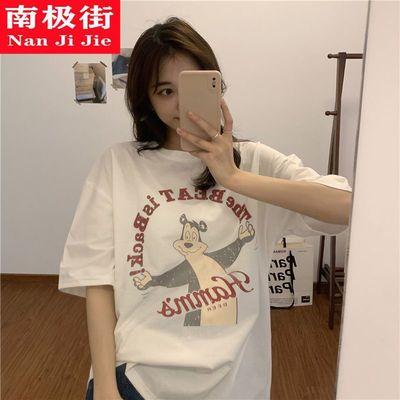 棉质炸街日系短袖t恤女学生韩版宽松2021新款原宿风情侣半袖上衣