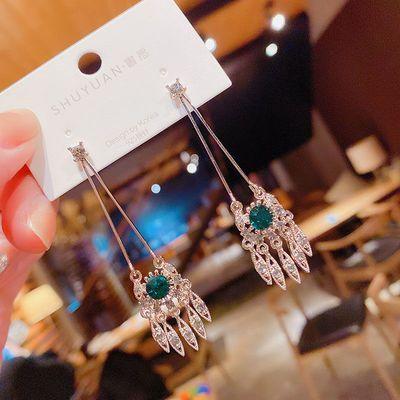 71806/东大门时尚宫廷风长款耳环韩国气质网红绿钻流苏925银针耳钉耳饰