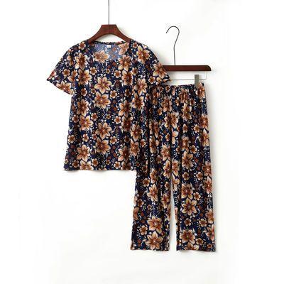 56080/2021新款雪纺弹力好家居中老年短袖清凉大码奶奶装夏装套装两件套