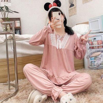 56209/睡衣女长袖套装春秋季新款性感蕾丝边宽松大码家居服纯色网红睡衣