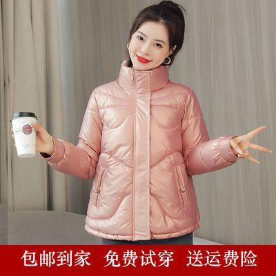 54831/免洗亮面棉服女短款2021冬季新款轻薄宽松立领棉衣大码小个子棉袄