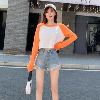 L2021新款高腰A字毛边牛仔超短裤女学生宽松显瘦阔腿热裤子潮