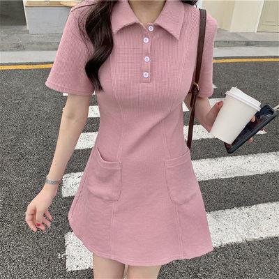 88349/日系减龄学院风夏季新短袖polo领连衣裙女韩版清新显瘦A字T恤裙