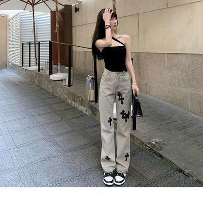 66035/辣妹十字架直筒牛仔裤女宽松大码胖妹妹高腰显瘦阔腿坠感长裤女装