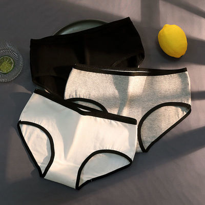 1/3条 纯棉内裤少女日系学生中低腰性感三角短裤抗菌透气薄黑白灰