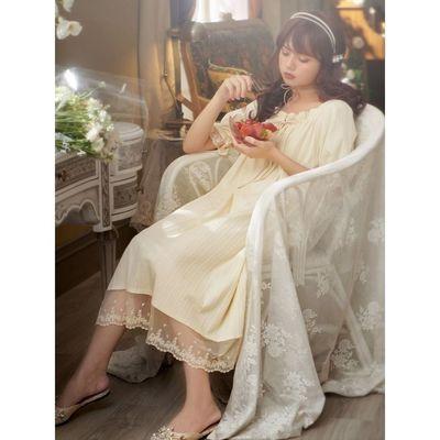 73042/睡裙女夏季纯棉短袖公主风法式宫廷仙女纯欲风睡衣仙气长款脚踝裙
