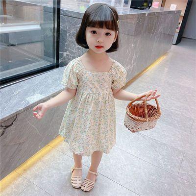 女童连衣裙夏纯棉碎花泡泡袖小童公主裙夏季女宝宝夏装短袖裙子