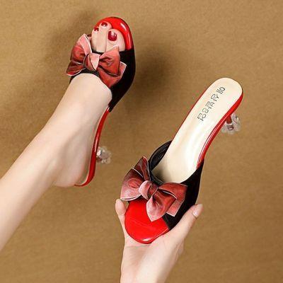 90840/新款水晶跟中跟甜美一字拖蝴蝶结凉拖鞋女夏外穿百搭细跟高跟拖鞋